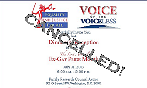 Ex Gay Pride Cancelled