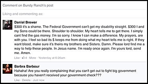 Bundy Ranch Comment Goverment Check