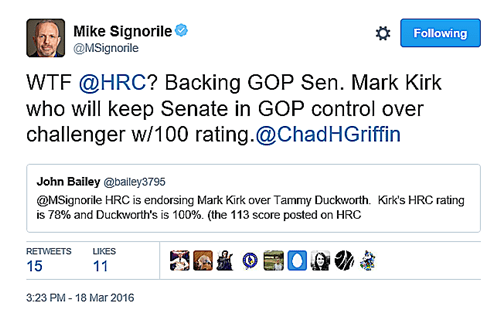 HRC Endorses Republican Kirk Over Dem Duckworth