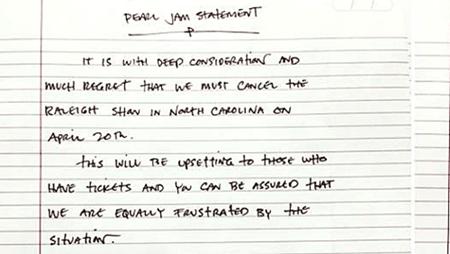 Pearl Jam Statment