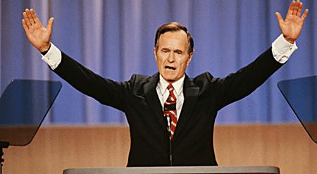 Pres. G.H.W. Bush Signs Immigration Bill Ending Gay Ban: