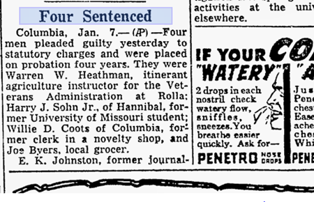 "January 7, 1949: 4 Men Plead Guilty To ""Homosexual Offenses"" After Gay Witch Hunt"
