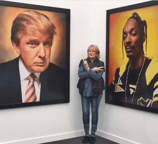 Martha Stewart Photobombs Trump and Gives Him The Finger at Frieze New York Art Showing