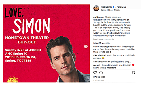 Matt Bomer Buys Out Hometown Texas Movie Theater for the Community to See Love, Simon