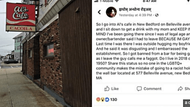 Man Thrown Out of New Bedford, MA Restaurant for Being Gay