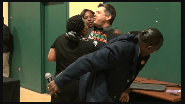 White Queer Black Lives Matter Protester Disrupts Black Leaders Endorsement of Pete Buttigieg - VIDEO