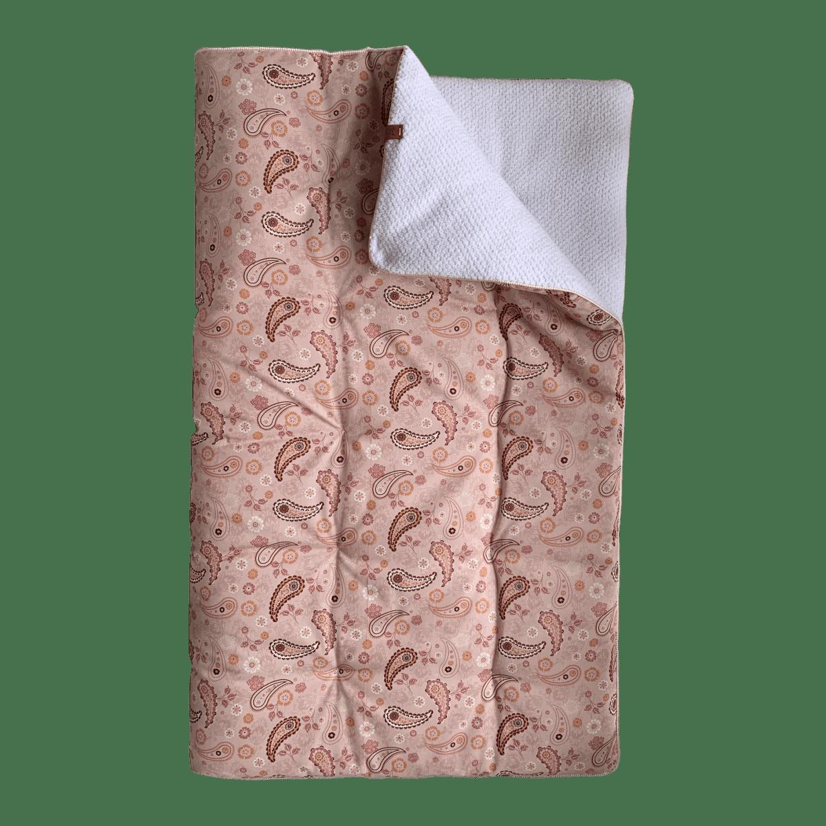 Boxkleed Paisley roze/  Baby wafel wit