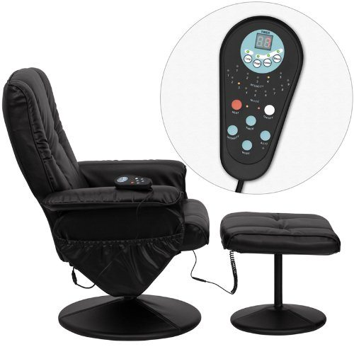 Massaging_Black_Leather_Recliner_&_Ottoman_with_Leather_Wrapped_Base