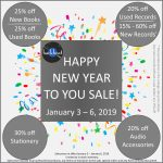 Happy New Year to You Sale! – Jan 3 – 6, 2019