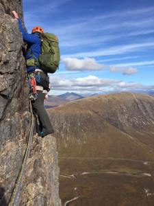 Bradley on the poorly protected/exposed 2nd pitch of January Jigsaw, Glencoe