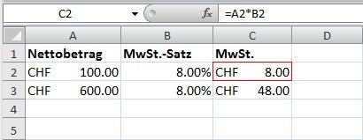 Prozentrechnen mit Excel