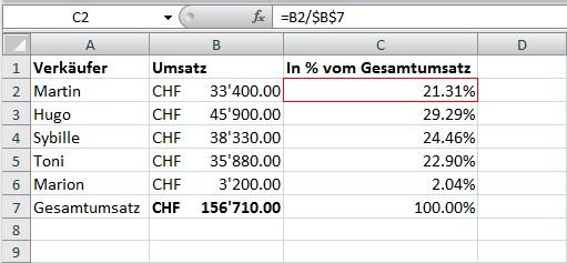 Prozentsatz mit Excel berechnen