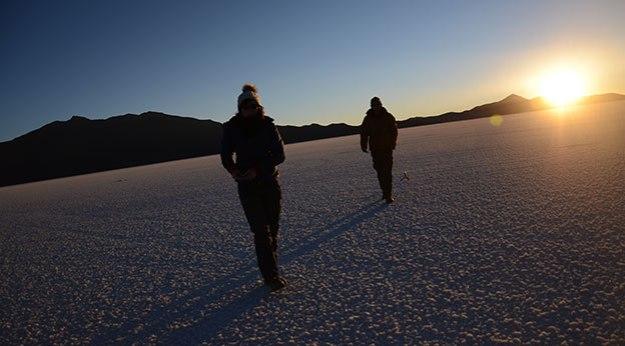 Coucher de soleil sur le Salar de Uyuni