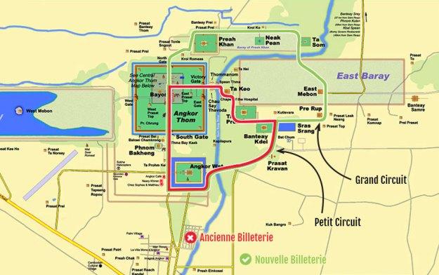 Le détails des circuits de visite de Angkor