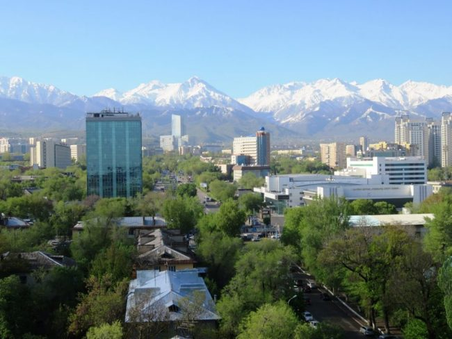 view on the Tian shan mountains in Almaty Kazakhstan