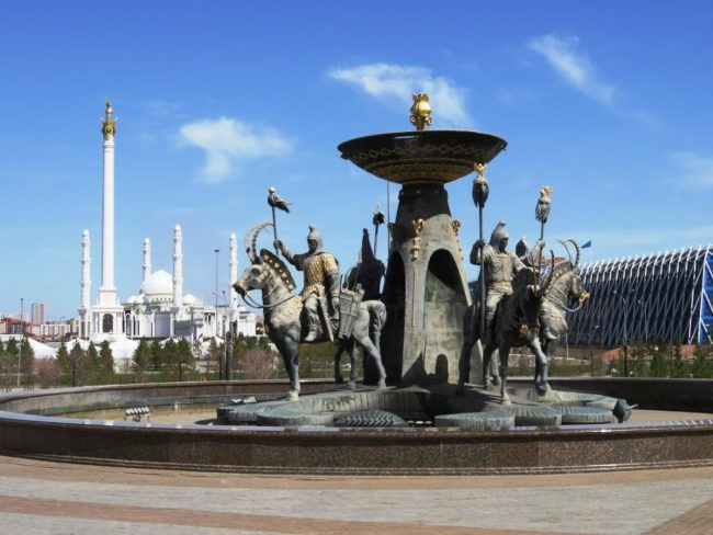 Statue of warriors in front of National museum of Kazakhstan in Nursultan Astana