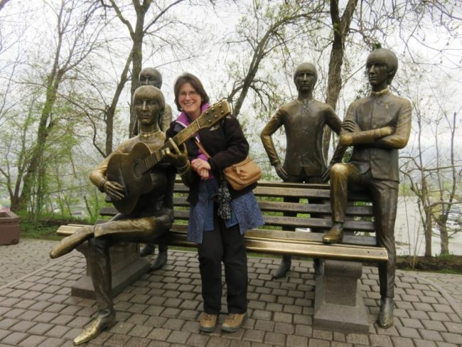 The statue of the beatles at Kok tobe hill. The Kok tobe cable car is the most fun thing to do in Almaty for families with kids