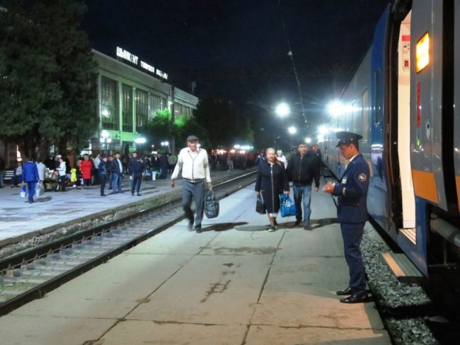 Boarding the night train to Almaty in Kazakhstan