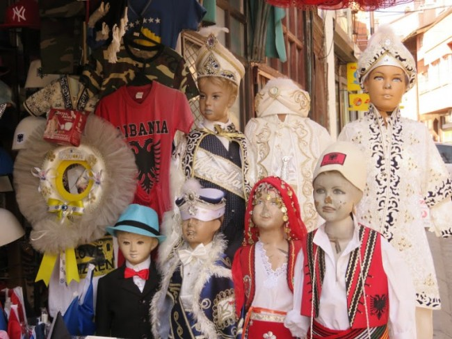 Traditional Kosovar clothes at a market in Prizren