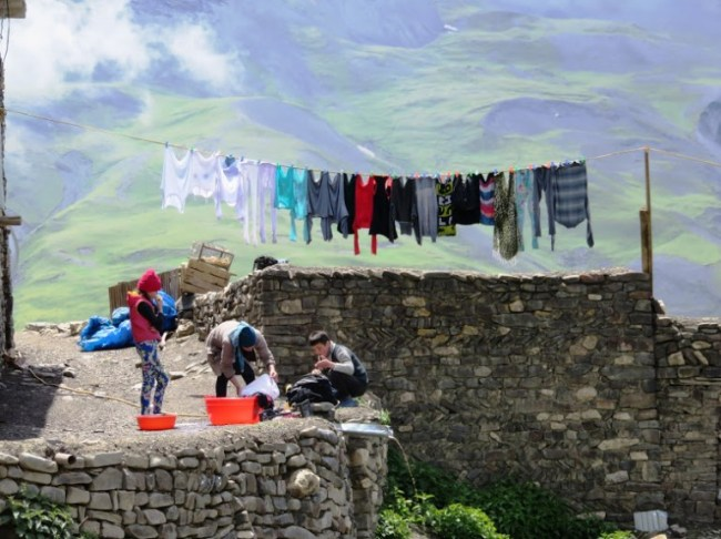 Women doing laundry in Xinaliq, Khinaliq, Khinalug