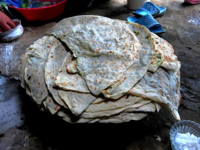 Home made qutab bread with spinach in Xinaliq, Khinaliq, Khinalug