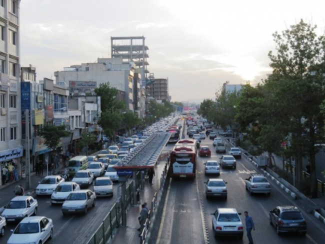 the road in Tehran Iran. The biggest danger during my solo female travel in Iran was the traffic