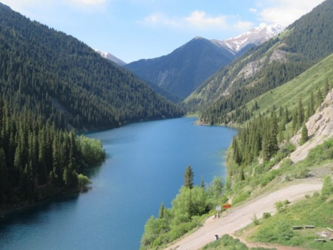 when backpackung Kazakhstan you can see a lot of mountain lakes like the Kolsai lakes near Almaty
