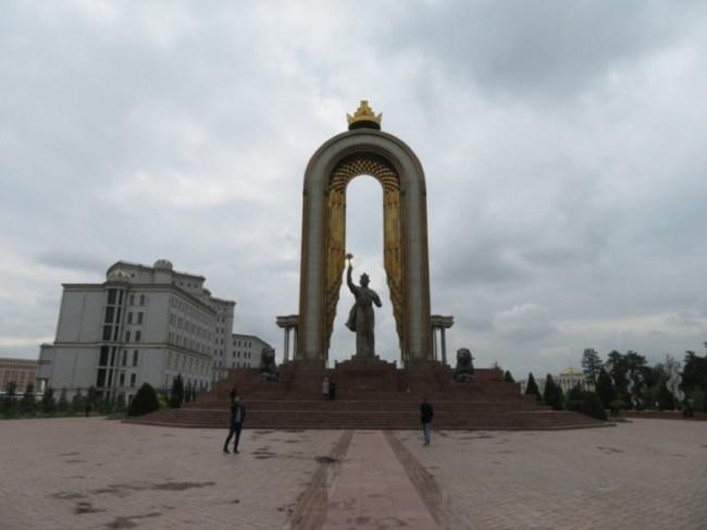 Somoni statue in Dushanbe Tajikistan