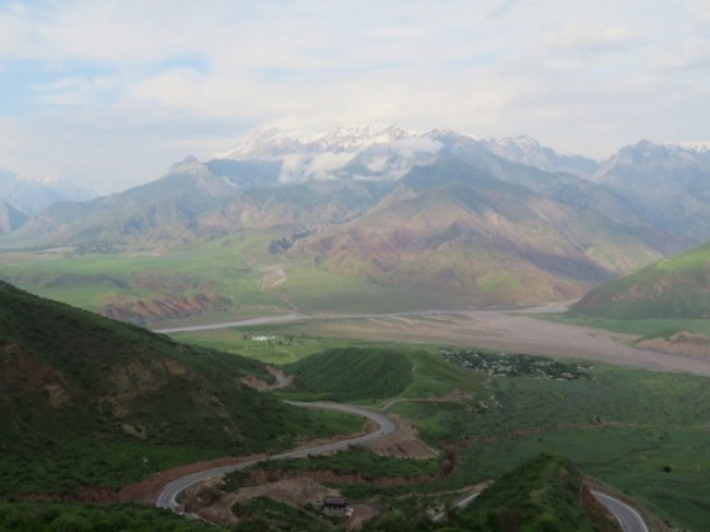 Afghan viewpoint on the Pamir highway Tajikistan