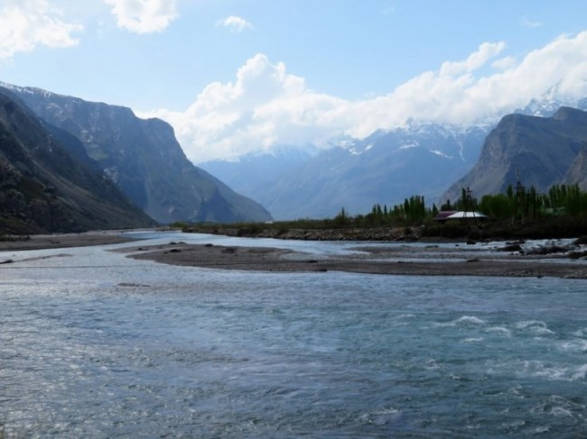 The Bartang river in Rushan on the Pamir highway Tajikistan