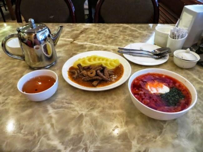 borsht and beef stroganov in cafe faiza in Bishkek Kyrgyzstan