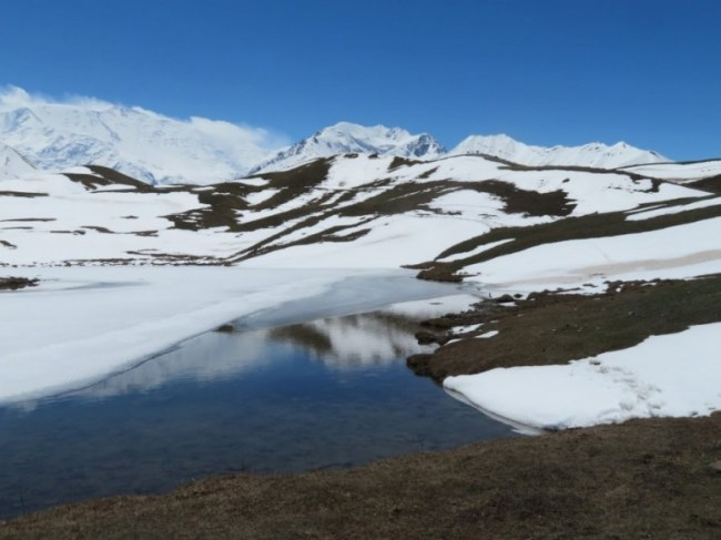 Tulpar lake in the Alay mountains in Kyrgyzstan