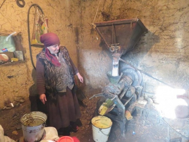 Walnut oil factory in Arslanbob Kyrgyzstan
