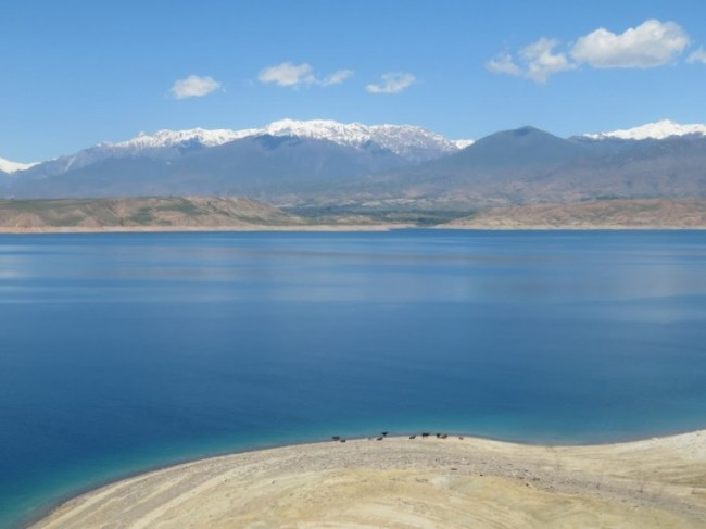 Lake Karakol on the way from Bishkek to Osh in Kyrgyzstan