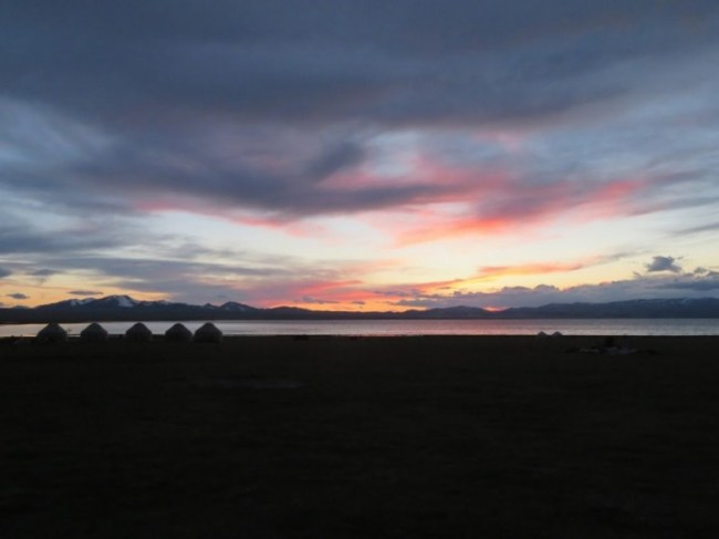 Sunset at Song kul lake in Kyrgyzstan