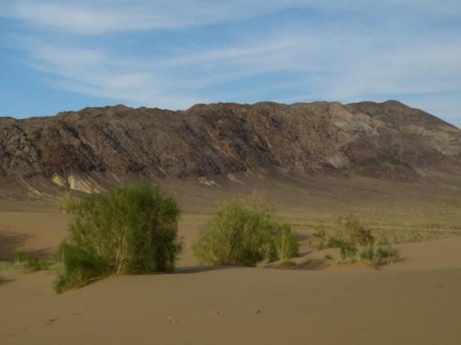 View from the Singing Sand dunes in Altyn Emel National park