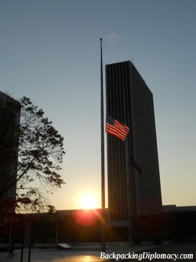 A sunset in Albany New York with the American Flag.
