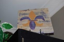 Fleur de lis purple and gold painting