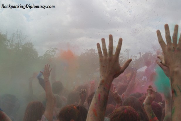 The throwing of colors at holi festival