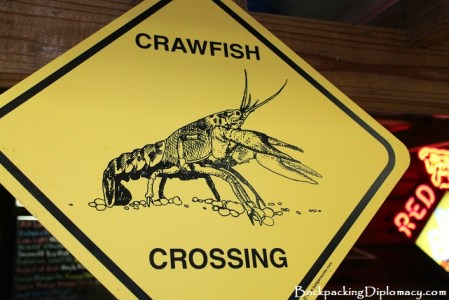 Crawfish crossing sign. Crawfish Xing sign.