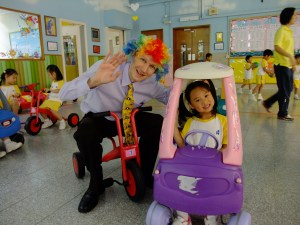 Having fun at playtime with the children in Hong Kong