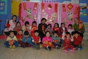With one of my kindergarten classes teaching English in Hong Kong