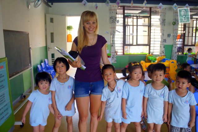 Me with my kindergarten students in Dongguan, China