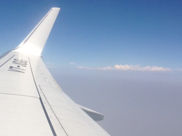 First sight of the Himalayas from the plane, Nepal.