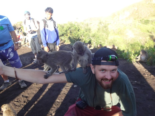 Making friends with some monkeys (Indonesia, 2016).