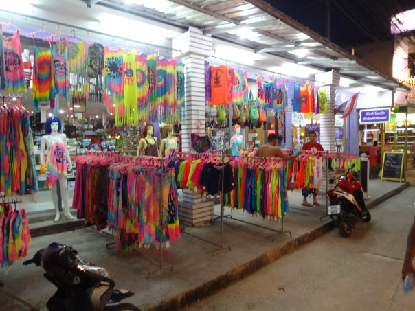 Typical Full Moon Party clothing & accessory shop. (Thailand, 2016).