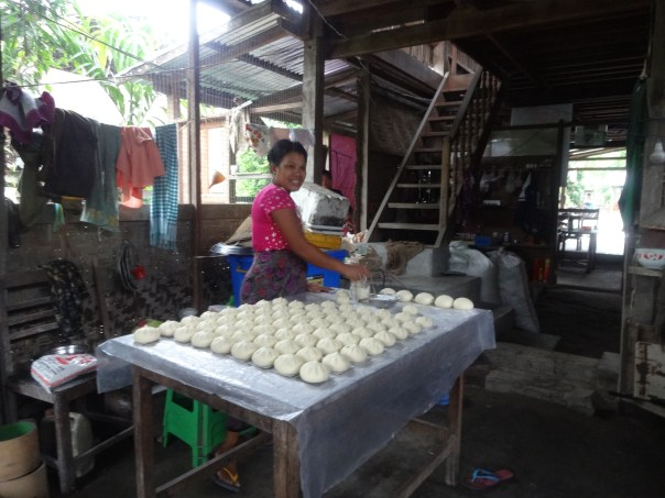 Making some tasty coconut dumplings (Myanmar, 2016).