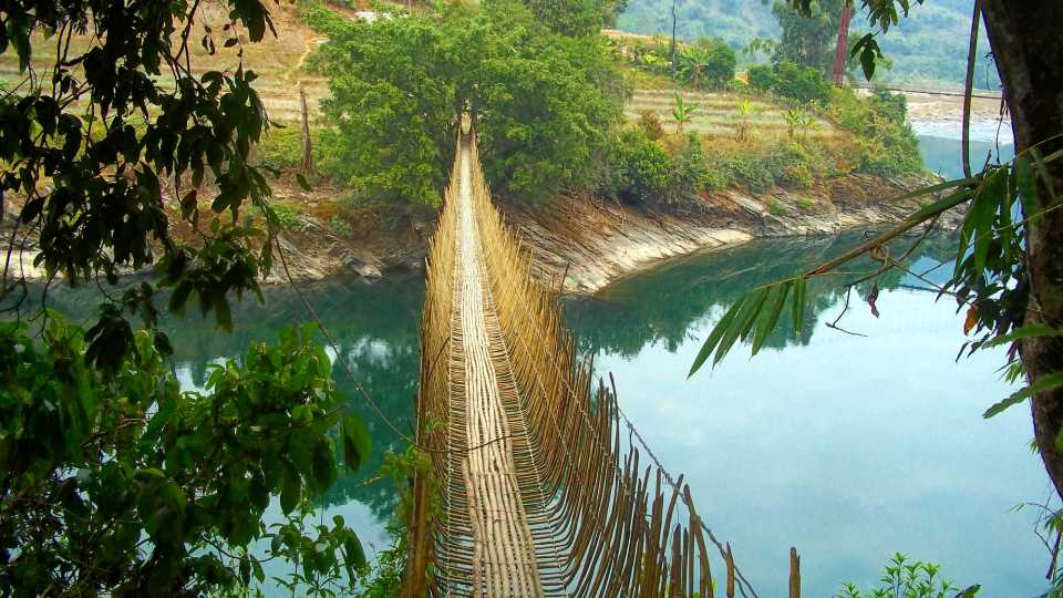 Is it safe to walk on the hanging bridges in northeast India?