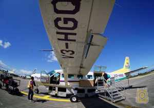 Hop on a Maya Island Air shuttle plane from Belize City into Dangriga, Belize.