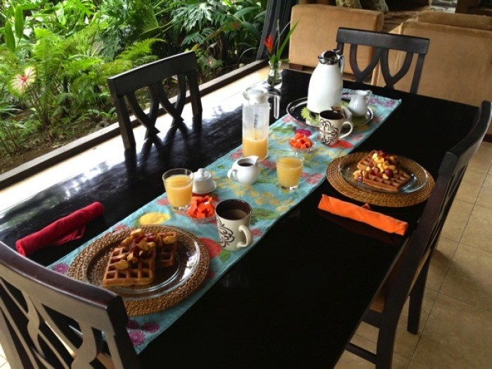 Belgian Waffles Breakfast at Villa Hermosa La Fortuna Costa Rica - Villa Hermosa: Your Home Away from Home in Costa Rica